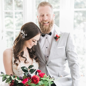elegant couple in gray and red on Mountainside Bride