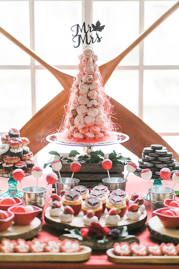red and white dessert table on Mountainside Bride