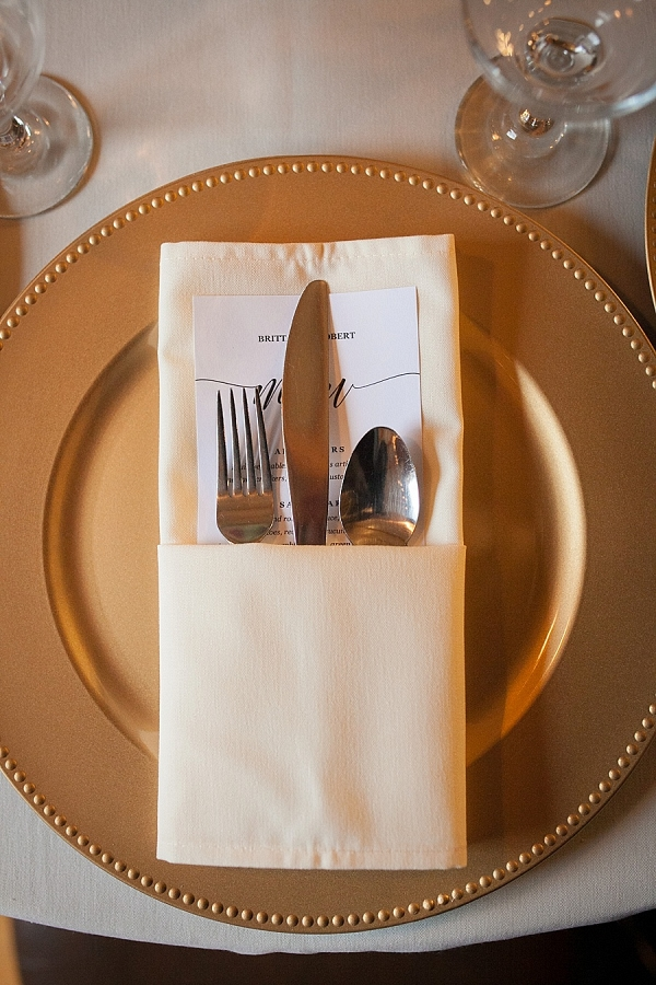 Gold charger and while linens