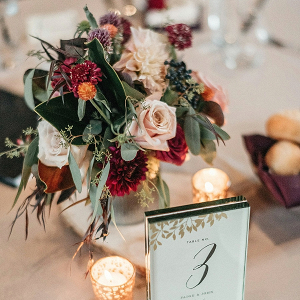 Red and blush centerpieces on Mountainside Bride