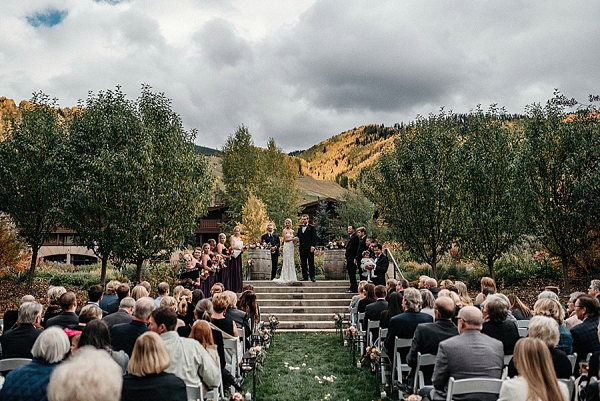 Fall mountain ceremony on Mountainside Bride
