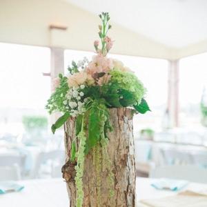 rustic wooden log centerpiece vase