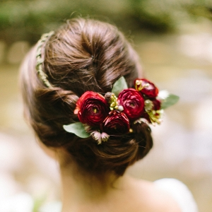 Flower crown updo on Mountainside Bride