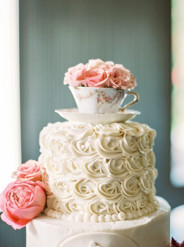 Vintage Tea Cup Wedding Cake Topper | Mountain Wedding Maryville Tennessee