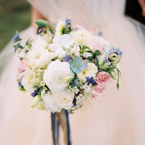 Ivory, blue, and pink bouquet on Mountainside Bride