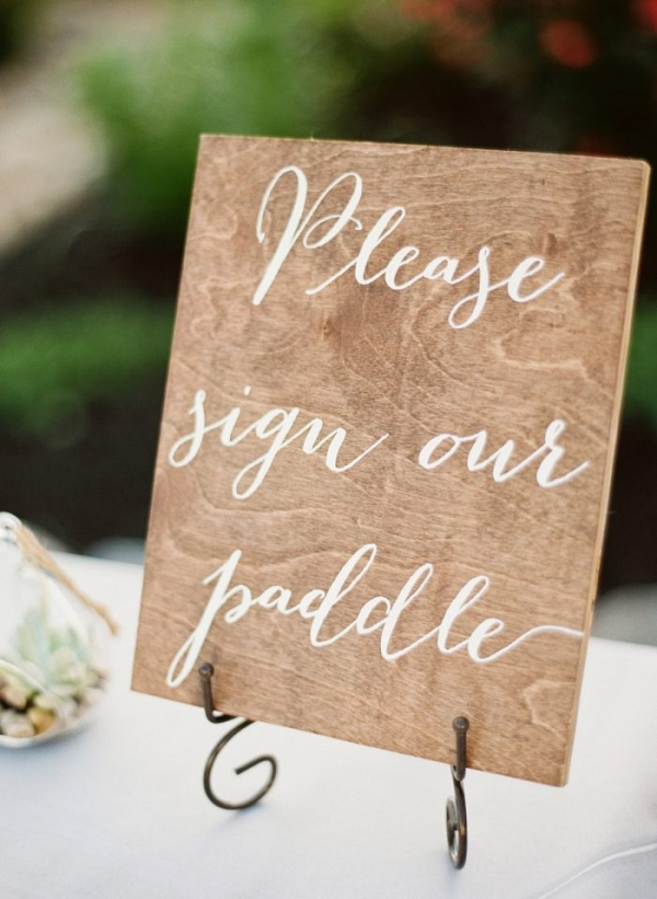 Canoe paddle guest book wooden sign with white calligraphy