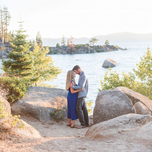 Serene lake Tahoe engagement