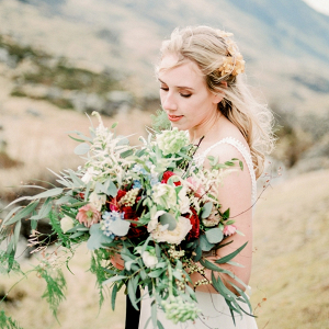 Lush and wild red bridal bouquet