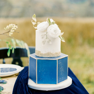 Hexagon blue and gold wedding cake