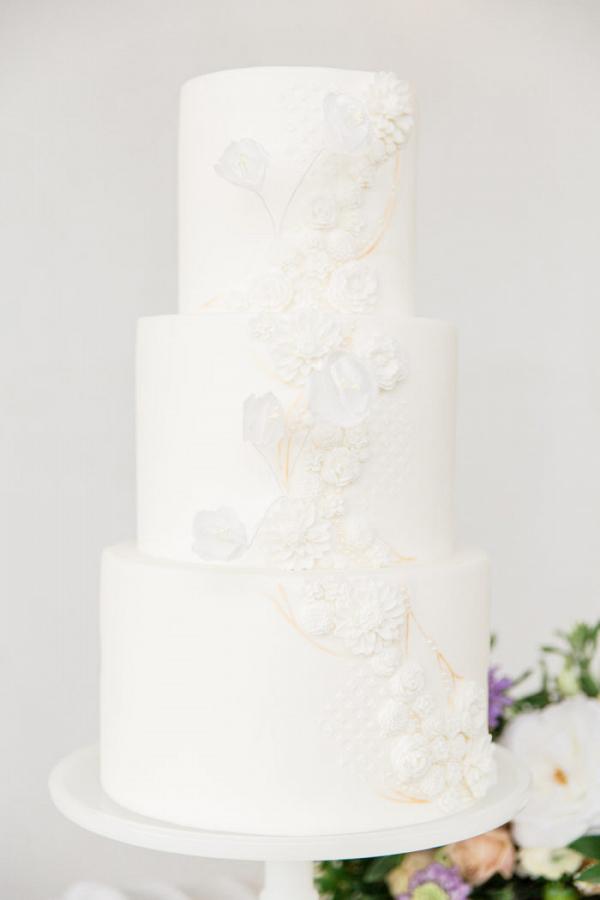 3 tier white wedding cake