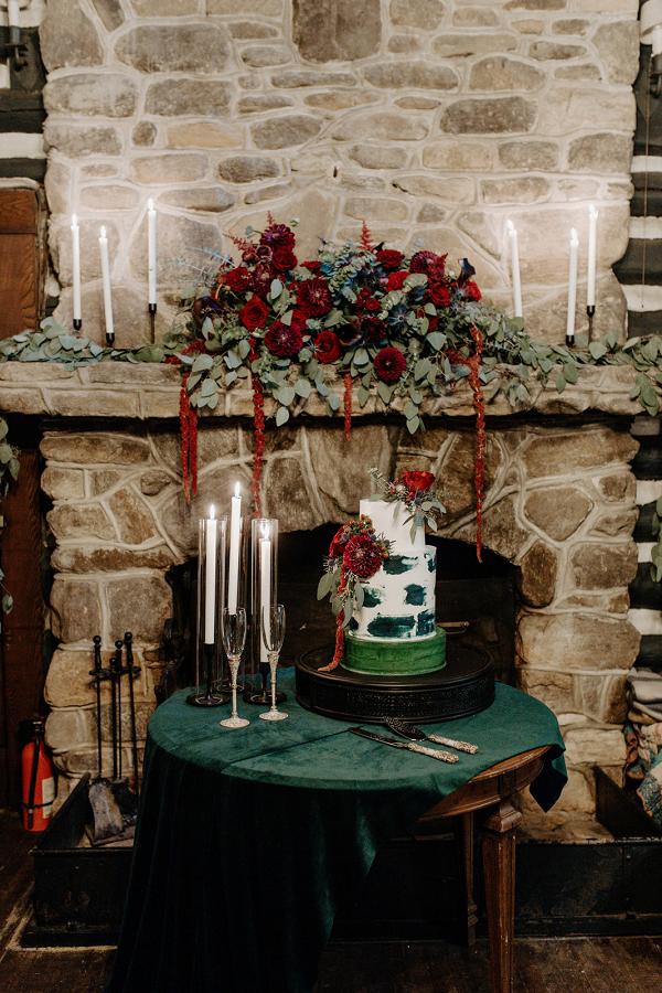 Elegant summer camp wedding cake