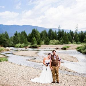 Rustic ranch wedding portrait