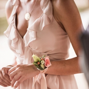 Pink and White Bridesmaid Corsage
