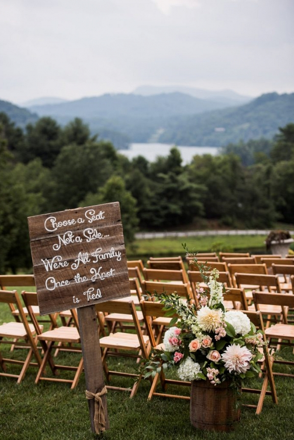 Choose a seat sign with smoky mountain backdrop