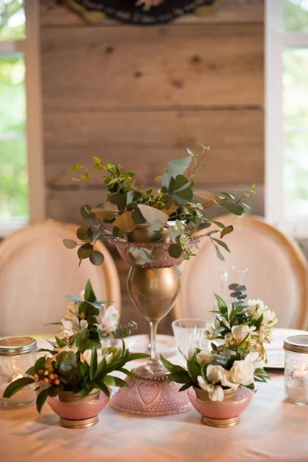 romantic vintage inspired gold and greenery centerpices