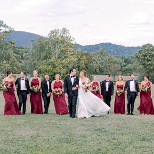 Virginia vineyard wedding with shades of red and green