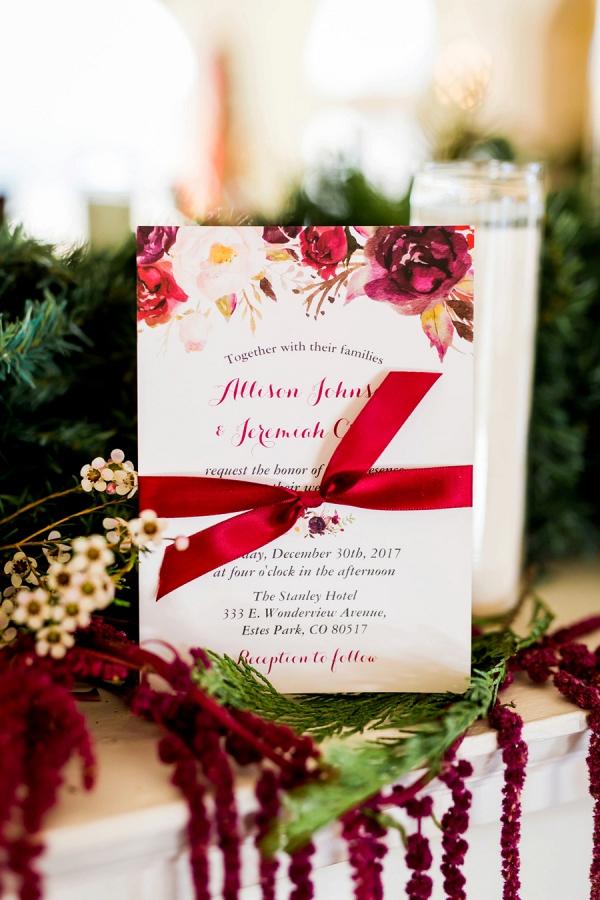 Red winter wedding invitation