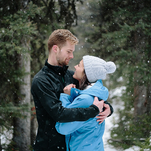 Couple hike in snow