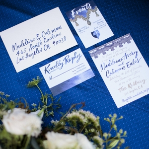 Navy calligraphy wedding stationery