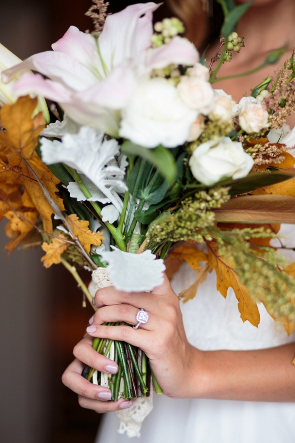 Fall leaves wedding bouquet