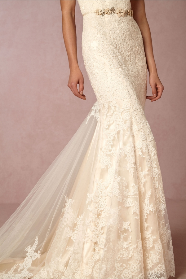 BHLDN Leigh Floral Lace Wedding Dress with Train