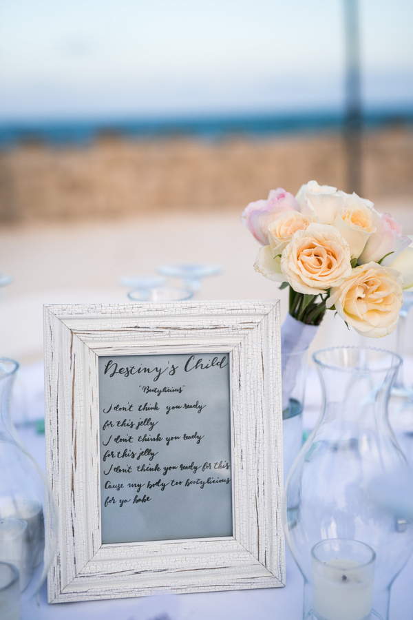 Song lyric wedding table markers