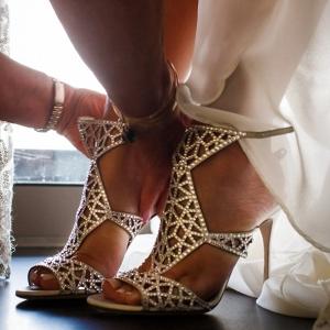 Cutout bridal heels