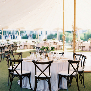 Rustic elegant tented wedding reception