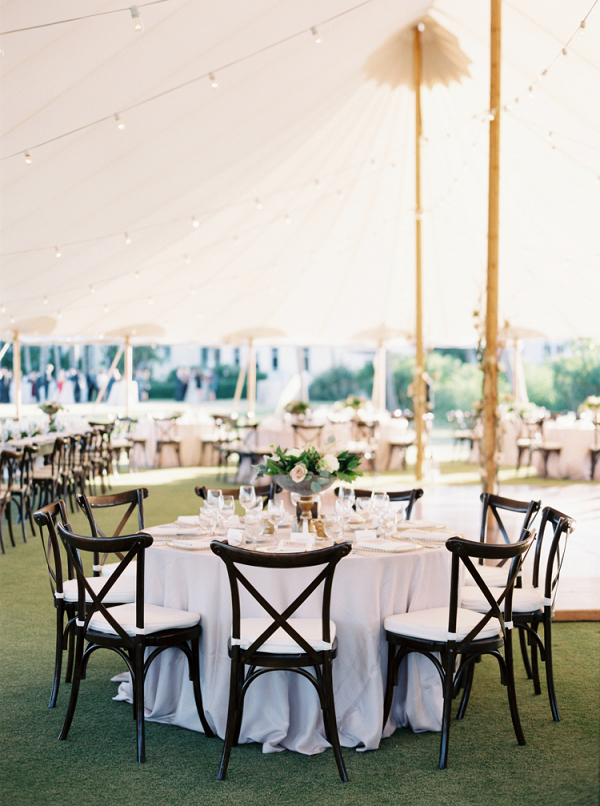 Rustic elegant tented wedding reception