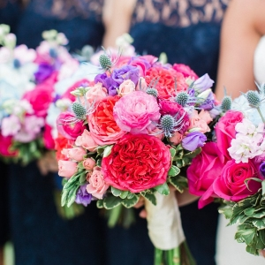 Preppy bridesmaid bouquets with fuchsia and purple flowers