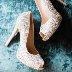 Gorgeous beaded nude bridal peep toes