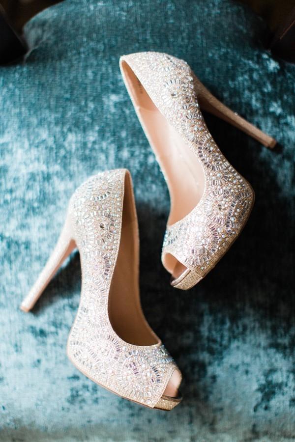 Gorgeous beaded nude bridal peep toes