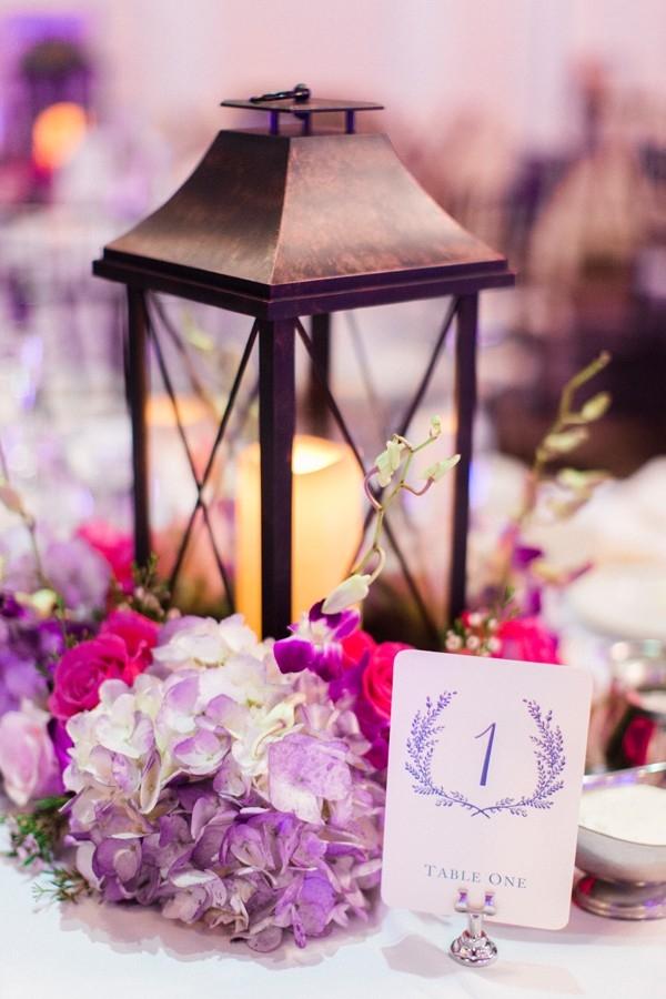 Romantic lantern centerpiece with hydrangea and roses