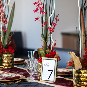 Black and red wedding tablescape