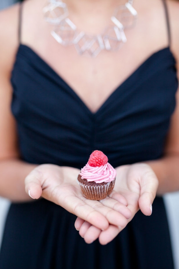 Chocolate raspberry mini cupcake