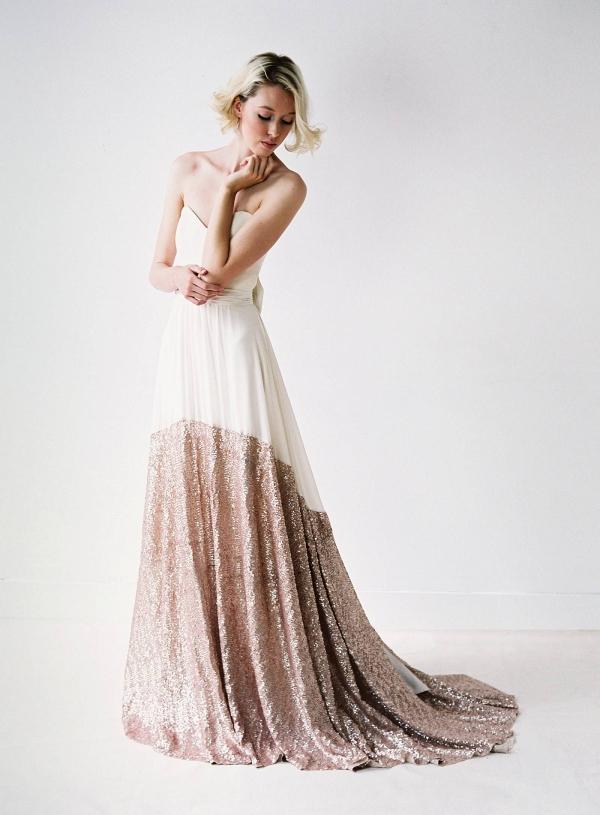 rose gold sequin wedding dress