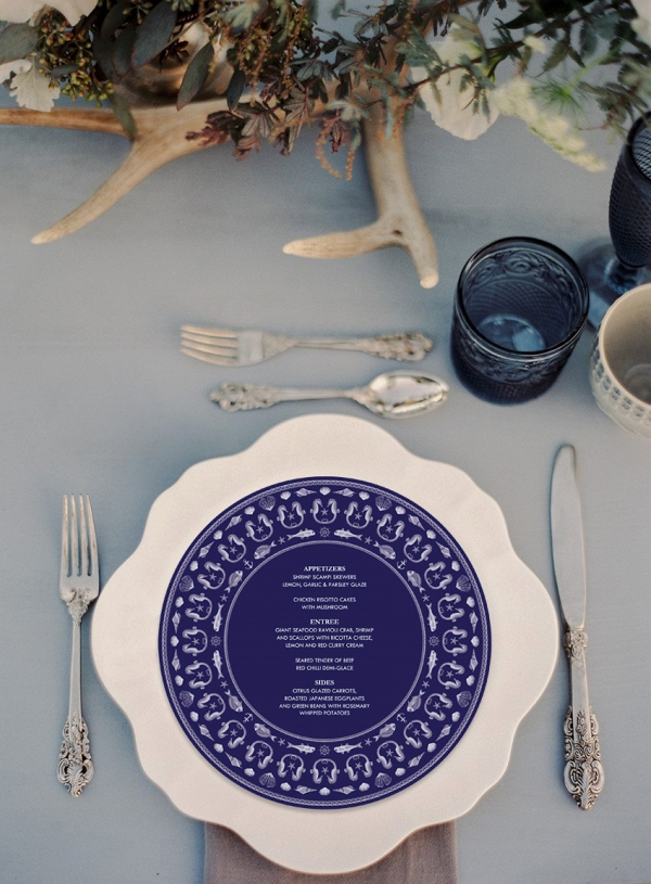 Circular Nautical Wedding Menu
