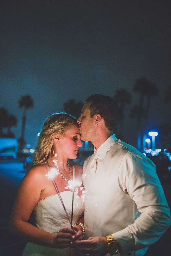 Bride and groom portrait with sparklers