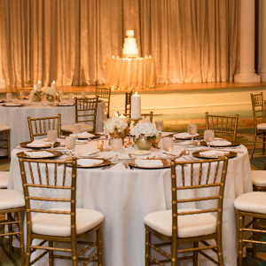 Gold ballroom wedding reception