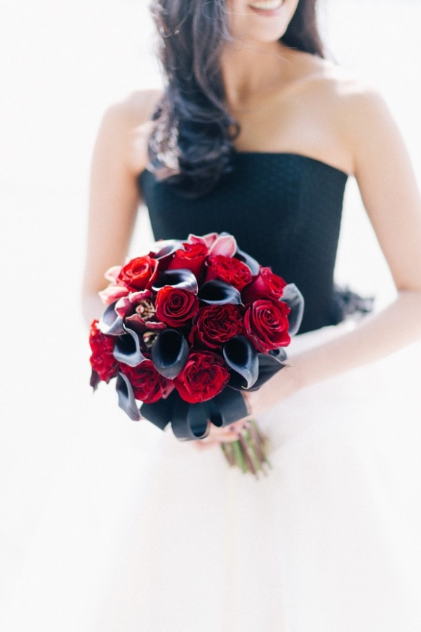 Crimson rose and black calla lily wedding bouquet