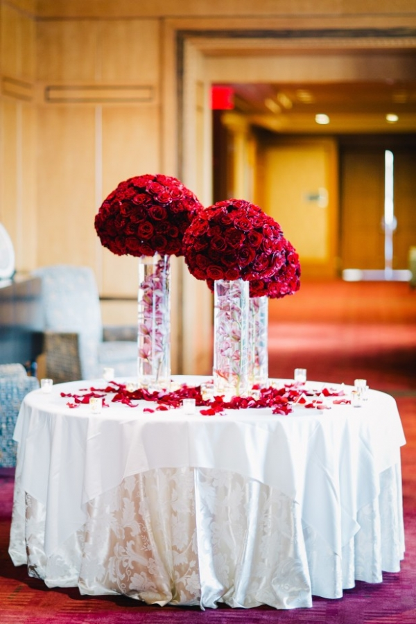 Gorgeous tall centerpieces made with red roses