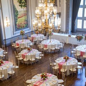 Bird's eye view of elegant ballroom reception at the historic Tudor Arms Hotel