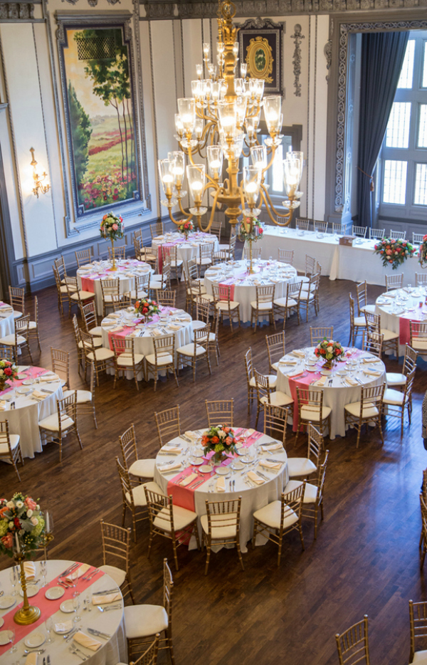Bird's eye view of elegant ballroom reception at the historic Tudor Arms Hotel