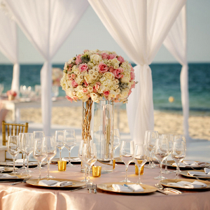 Mexico beach wedding reception