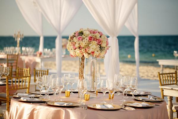 Mexico beach wedding reception