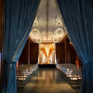 Ballroom wedding ceremony at 21c Hotel Durham, NC