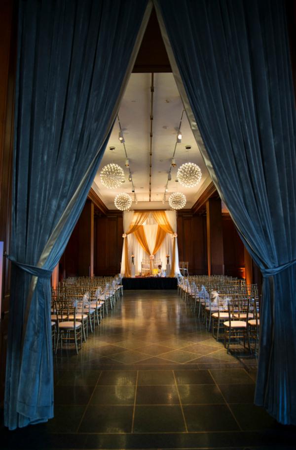 Ballroom wedding ceremony at 21c Hotel Durham, NC
