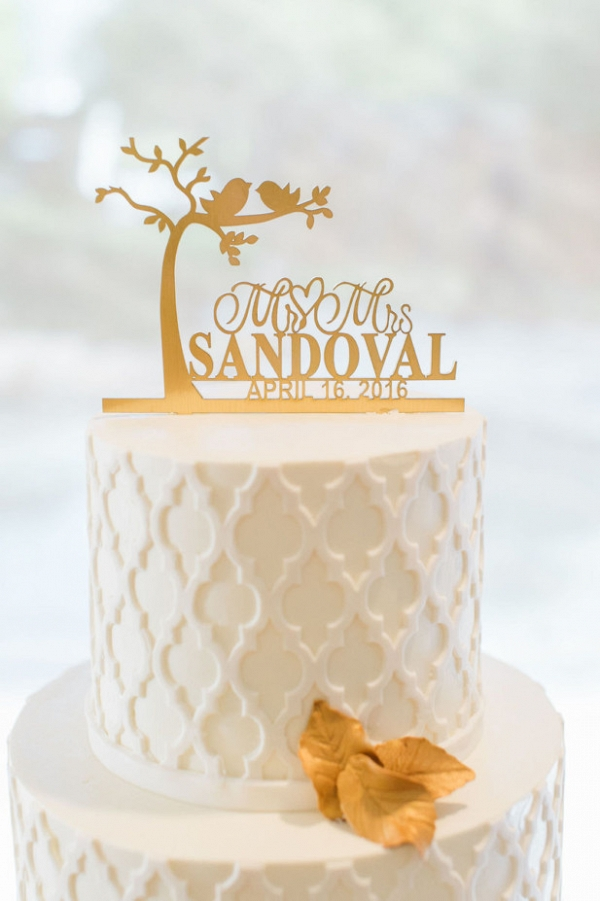 Personalized gold cake topper
