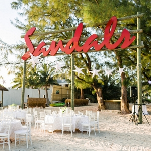 All white beach wedding reception