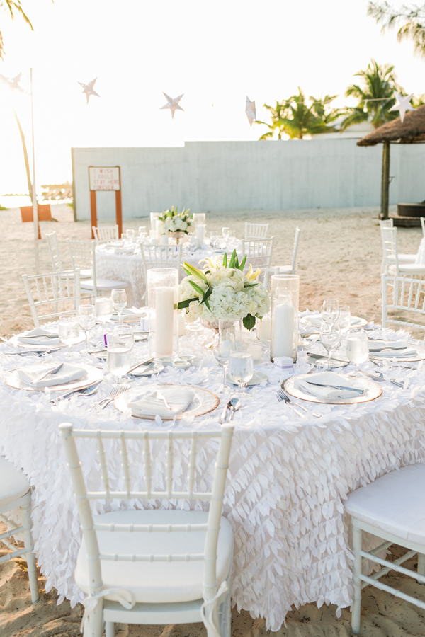 White beach wedding reception